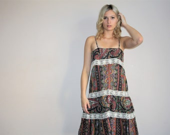 Vintage 1970s Floral Hippie Boho Prairie Folk Maxi Dress - 70s Floral Gunne Sax Dresses - W00679