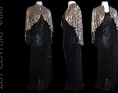 Glamorous 1920s Sequin Cape. 20s Silver Capelet on black tulle. Flapper, Jazz Age, Art Deco era.