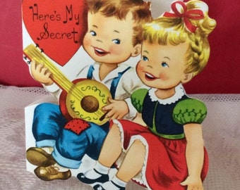 Vintage 1950s Valentine Card Little Boy Playing An Instrument & Girl Singing Whitman USA Collectible Paper Ephemera Art Craft Scrap Book