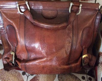 Vintage 1960s 1970s Handbag Purse Satchel Genuine Leather Large Size Hippie Festival Bag