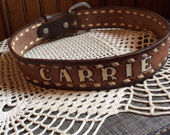 Vintage 1970s 1980s Belt Hand Tooled Engraved With The Name CARRIE Genuine Leather L.G. Brown Belt Company 1021 E. Butler Fort Worth Texas