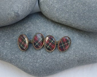 Pair Antique Scottish Tartan - Cufflinks  c1930s