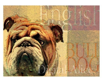 Dog Lovers Art - ENGLISH BULL DOG - Vintage Look Contemporary Art Print Poster - Artist signed - 3 sizes - customizable