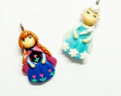 Cold Porcelain Elsa or Anna - Clay Elsa Pendant, Clay Anna Pendant, Elsa Charm, Anna Charm, Elsa Necklace, Anna Necklace, Clay Charms, Gift