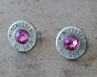 Winchester 40 S&W Nickel Bullet Stud Earring, Rose Swarovski Crystal, Surgical Steel Post - 431