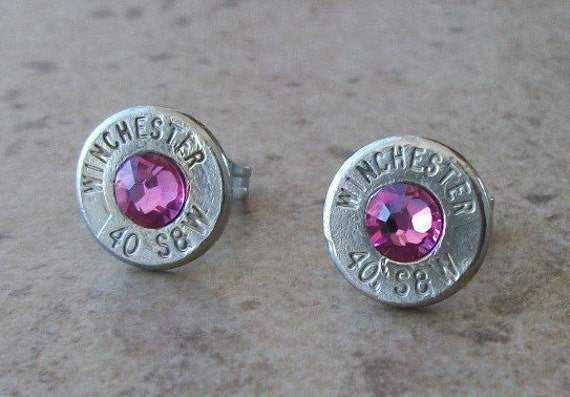 Winchester 40 S&W Nickel Bullet Stud Earring, Rose Swarovski Crystal, Surgical Steel Post - 431