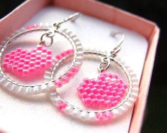 SALE: Bright Pink Heart Earrings, Seed Bead Hoops, Brick Stitch Bead Weaving