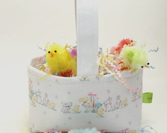 Easter basket, baby shower basket, bunnies and chicks, reversible fabric basket, baby storage basket, candy basket, baby gift