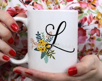 Country Floral Monogram  ~ Coffee ~ Tea ~ Mug ~ Metallic Options ~ Flower Initial Personalized