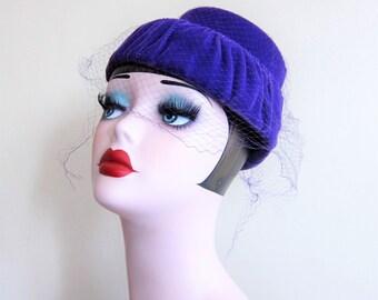 Vintage 1960s Purple Velvet Cocktail Hat / 60s Tiered Pillbox Hat