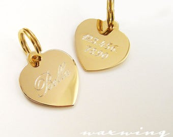 Gold Heart Pet Tag Custom Engraved in Gold Plated or Nickel Chrome Silver for Your Pet Dog or Cat Pet ID Pet necklace - Charm Size Medium