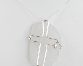 Wire Cross Sea Glass Silver Hand Wire Wrapped Necklace Pendant Catholic Religious Silver Cross