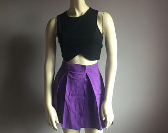 pleated vintage tennis skirt aline flirty 80s kawaii 1980s cheer high waist mini club kid hipster purple cotton smallS