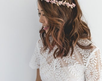dusty pink gold rose, leaf & berry flower crown // pink gold leaf crown / pink gold flower crown / dusty pink / gold flower crown