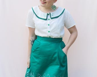 Avocado Embroidered Skirt - only 4 made!