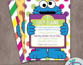 Cookie Monster Invitation, Girls Cookie Monster Invitation, Sesame Street Printable Invite