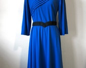 Royal Blue 1970s Secretary Diagonal Stripe 3/4 Sleeve Dress Size 14 Women Elastic Waist