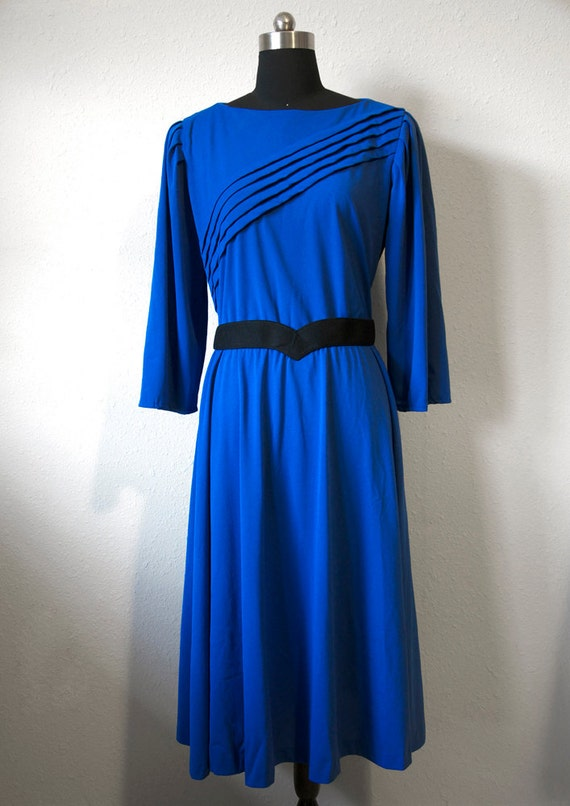Royal Blue 1970s Secretary Diagonal Stripe 3/4 Sleeve Dress Size 14 Women Elastic Waist