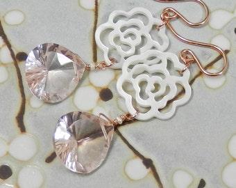 Fancy Cut Morganite Quartz, Carved Mother of Pearl Flower, Sterling SIlver Earrings