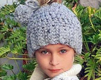 Messy Bun Hat Crochet Pattern, Chunky Bun Hat, Crochet Pattern, Ponytail Hat Crochet Pattern, Pom Pom Messy Bun Hat, Crochet Bun Hat Pattern