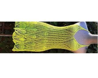 Sale: Crochet Halter Dress / Scalloped hemline / Beachwear / Cover up One Of A Kind/Size S-M/Ready to ship