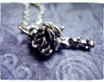 Silver Rose Necklace - Silver Pewter Rose Charm on a Delicate Silver Plated Cable Chain or Charm Only