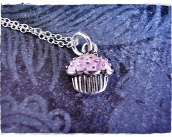 Tiny Pink Cupcake Necklace - Pink Enameled Sterling Silver Cupcake Charm on a Delicate Sterling Silver Cable Chain or Charm Only