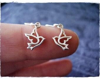 Tiny Silver Dove Earrings - Sterling Silver Dove Dangle Earrings