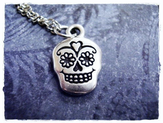 Silver Sugar Skull Necklace - Antique Pewter Sugar Skull Charm on a Delicate Silver Plated Cable Chain or Charm Only