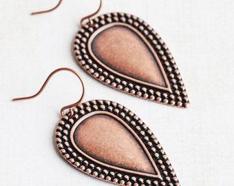 Copper Drop Earrings, Antiqued Copper Earrings, Embossed Teardrop Earrings, Plated Copper Dangles, Boho Chic Jewelry