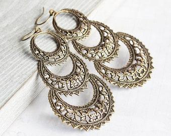 Large Antiqued Brass Filigree Hoop Dangle Earrings, Boho Chic Jewelry