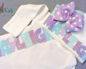 Newborn girl coming home outfit, infant girl outfits, newborn hats, baby hat with name, baby layette