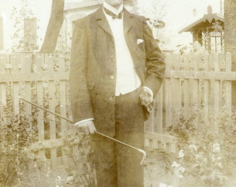 Dashing Young VICTORIAN Man in STRAW Hat Holding a CANE Cabinet Card Photo 1907