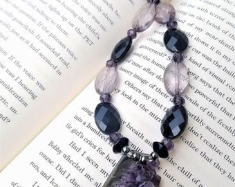 Black and Purple Amethyst Druzy Crystal Cluster Pendant Beaded Necklace