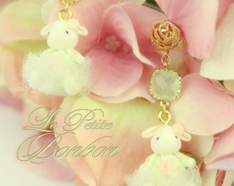 Bunny tutu ballerina earrings