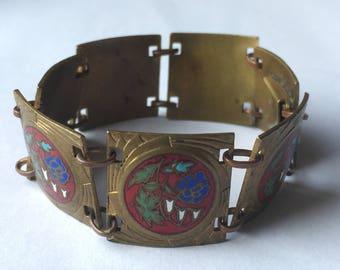 Vintage c. 1930s French Art Deco brass and enamel flower panel link bracelet - Basse Normandie region