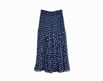Vintage 90s Blue & White Daisy Skirt / 90s Express Maxi Skirt / Crinkle Floral Maxi Skirt - women's small
