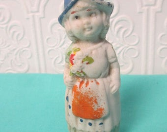 MINIATURE BISQUE DOLL Japan Girl with Flowers Antique Distressed Vintage Found Object for Collecting or Altered Art Projects