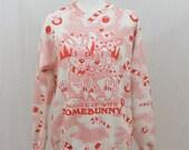 Vintage Holiday Sweatshirt, Bunny Rabbit, Size Medium-Large, Hearts, Candy Cane, Christmas, Ugly Christmas Sweatshirt, 90's Clothing, Kawaii