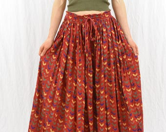 Vintage Heart Broomstick Skirt, Size Medium-Large, Boho, Hippie, Festival Clothing, Love, Hearts, Maxi Skirt, Gypsy Clothing