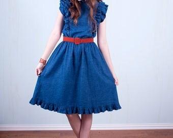 70's Denim Ruffle Dress - Cute Boho Western Swing Dress Blue Cotton Small Medium