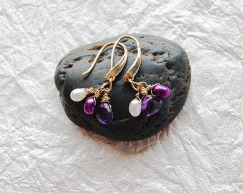 E041721 Simple Elegance Amethyst Briolette and Pearls Dangle Earrings