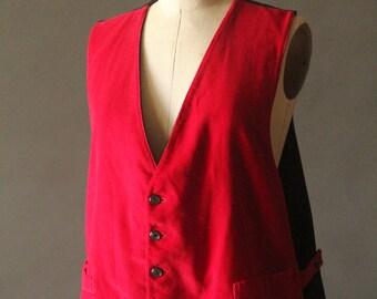Vintage 60's Handmade Men's Red and Black Velvet Reversible Vest