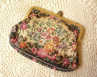 1920's 1930's Antique Vintage Mini Tapestry Needlepoint Embroidered Bag Clutch Purse