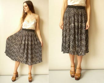 Vintage Indian Hippie Crinkle Cotton Gauze Sheer Gypsy Tie Waist Midi Skirt