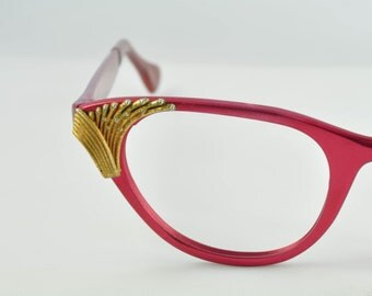 NOS Tura Cat Eye Glasses, Rose Color with Gold & Pearl Accent, 1950s, 1960s