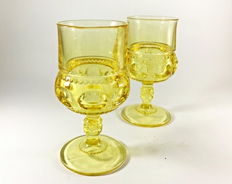 Vintage Glass Goblets Tiffin Glasses Wine / Water Goblets Wine Glasses Yellow Glassware