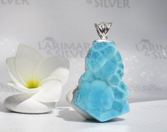Larimar pendant by Larimarandsilver, Caribbean Fantasy - Turquoise Larimar slab, natural stone, Caribbean turquoise handmade Larimar pendant
