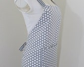 Adult Bib Apron - White and Gray Dots with Gray and White Chevron straps - Great for Cooking, baking, or crating, A fun retro print