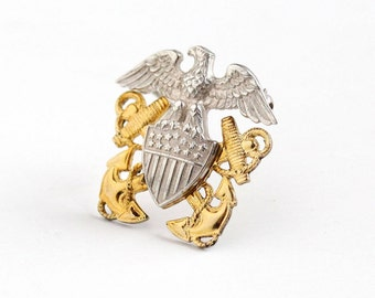 Vintage Sterling Silver & 10k Yellow Gold Filled United States Navy Officer Brooch Pin - 1940 WWII USN Military Anchor Eagle Balfour Jewelry